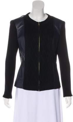 St. John Leather-Paneled Wool Jacket