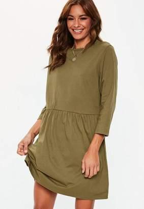 Missguided Khaki Jersey Long Sleeve Smock Dress