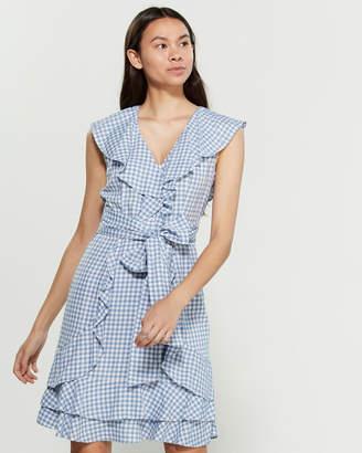 Jessica Simpson Gingham Ruffle Wrap Dress