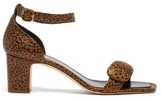 Rupert Sanderson Melissa Pebble Leopard Effect Leather Sandals - Womens - Leopard