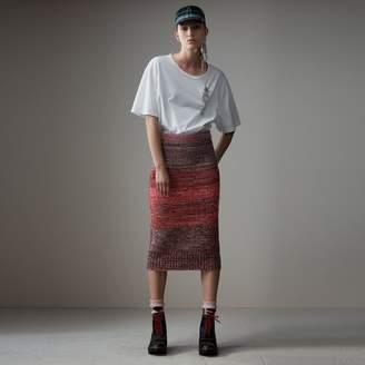 Burberry Cashmere Cotton Wool Blend Mouliné Skirt