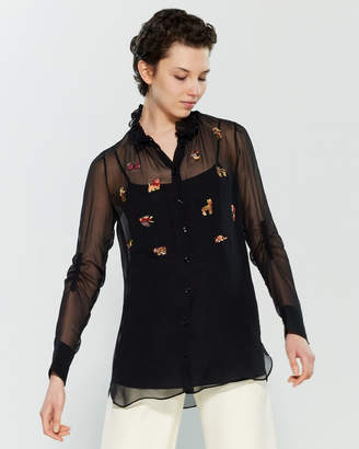 Carven Animal Embroidered Long Sleeve Blouse