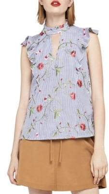 BCBGeneration Embroidered Floral High Neck Sleeveless Top