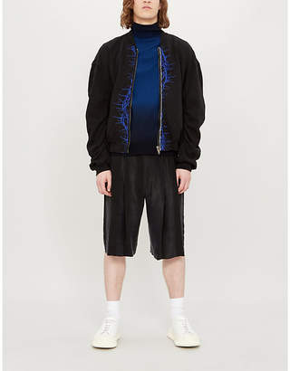 Haider Ackermann Barbed wire-print cotton-jersey bomber jacket