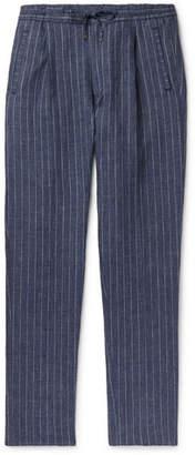 Lardini Tapered Pleated Pinstriped Linen Drawstring Trousers