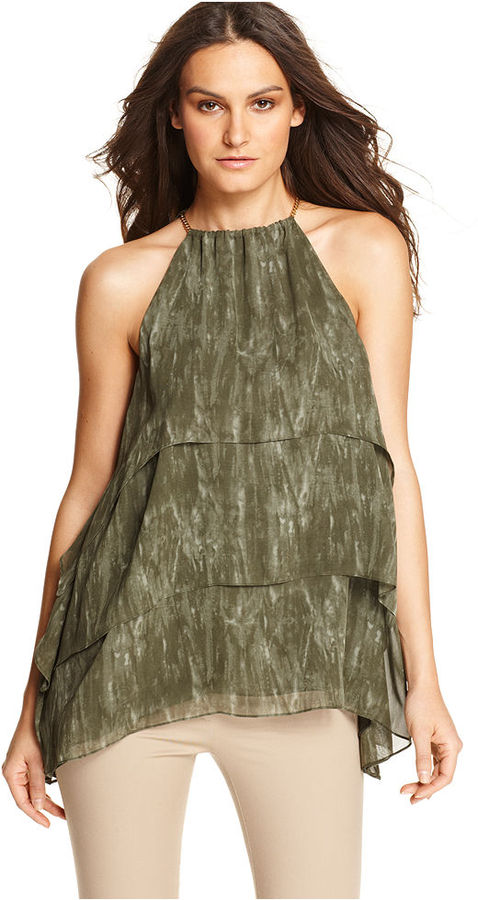 MICHAEL Michael Kors Top, Sleeveless High Neck Chain Printed Tiered A Line Halter Tank