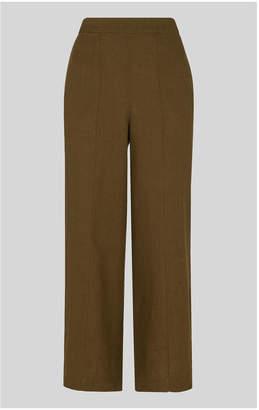 Whistles Linen Cropped Wide Leg Trouser