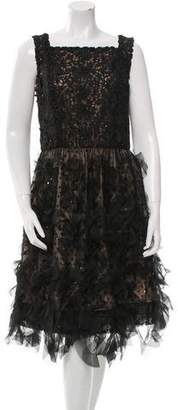 Oscar de la Renta Embellished Lace Dress