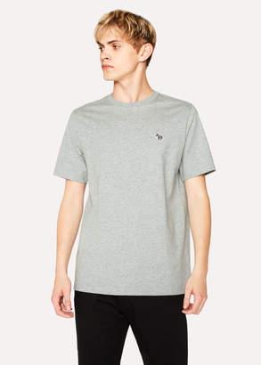 Paul Smith Men's Grey Marl Organic-Cotton Zebra Logo T-Shirt
