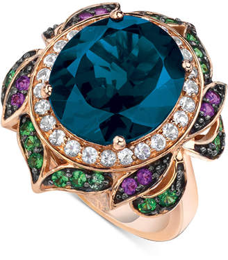 LeVian Le Vian Crazy Collection Garnet (7-5/8 ct. t.w.) and Multi-Stone Round Flower Ring in 14k Rose Gold (Also Available in London Blue Topaz)