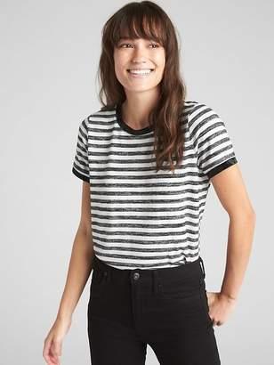 Gap Softspun Velvet-Trim Stripe Crewneck T-Shirt
