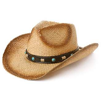 6549933119588 BEIGE Jeff   Aimy Mens Womens Western Aussie Outback Leather Cowboy Cowgirl Straw  Hats Wide Brim