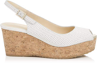 Jimmy Choo PRAISE Latte Knit Embossed Nubuck Slingback Peep Toe Wedges with Cork Wedge