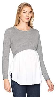 Ripe Maternity Women's Maternity Babydoll Nursing Sweater,S