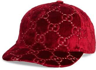 Gucci Logo Embroidered Velvet Baseball Cap