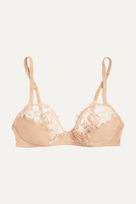 La Perla Souple Lace And Stretch Cotton-blend Jersey Soft-cup Bra - Neutral
