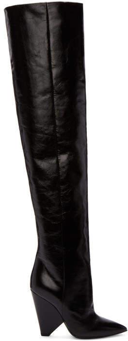 Saint Laurent Black Leather Niki Over-the-Knee Boots