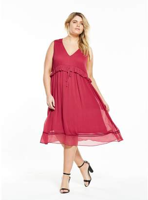 LOST INK CURVE Lost Ink Curve Pretty Fit And Flare Dress With Ruffle
