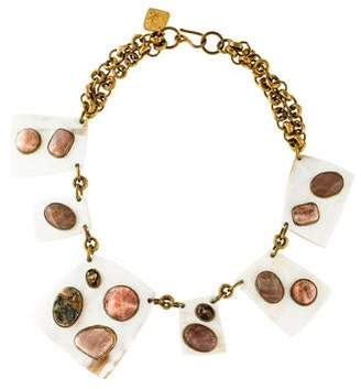 Ashley Pittman Horn & Multistone Collar Necklace