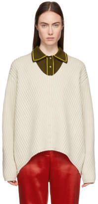 Acne Studios Beige Deborah Deep V-Neck Sweater