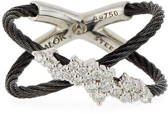Alor Crisscross Multi-Diamond Ring Black Size 7