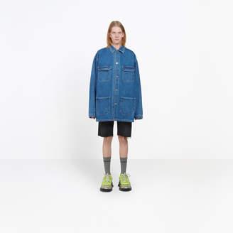 Balenciaga Denim jacket with printed technical fabric at back