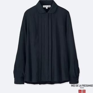 Uniqlo Women's Georgette Tuck Long-sleeve Blouse (ines De La Fressange)