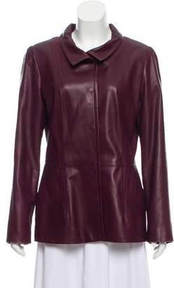 Oscar de la Renta Leather Dual Pocket Jacket