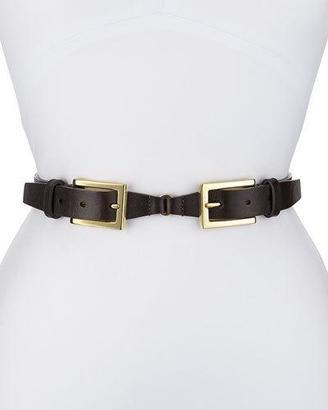 Neiman Marcus Double-Buckle Belt, Black $110 thestylecure.com