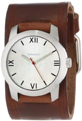 Nemesis Men's BHST068S Elite Collection Silver Roman Numeral Leather Band Watch