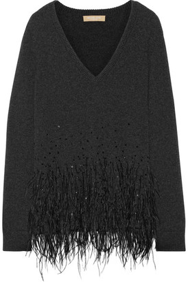 Michael Kors Collection - Feather-trimmed Cashmere Sweater - Charcoal $1,450 thestylecure.com