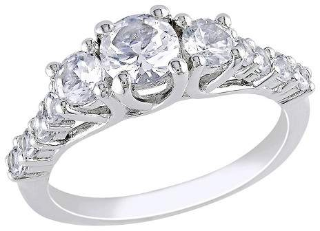 1 3/8 CT. T.W. White Sapphire Cocktail Ring - Silver