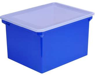 Storex, STX61554U01C, Locking Lid Tote Storage Box, 1 / Each, Clear,Blue Frost, 9.25 gal
