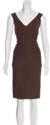 Carmen Marc Valvo Metallic Bandage Dress Brown Metallic Bandage Dress