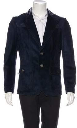 Gucci Leather-Trimmed Suede Blazer Jacket