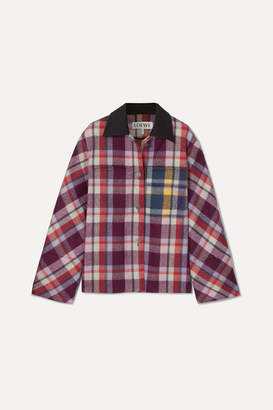 Loewe Leather-trimmed Checked Brushed-wool Jacket - Purple