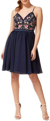 Occasion By Dex Embroidered Floral Tulle Fit--Flare Dress