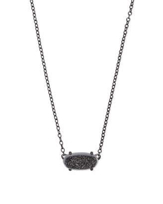 Kendra Scott Ever Gunmetal Pendant Necklace in Black Drusy