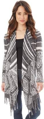 Iz Byer Juniors' Striped & Geometric Waterfall Cardigan