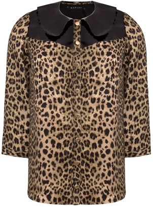 Manley Mia Silk Shirt With Patent Leather Collar Leopard & Black
