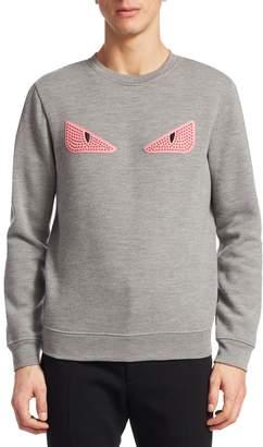Fendi Men's Cat Eye Embroidery Pullover