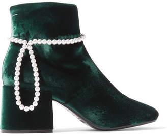 MM6 MAISON MARGIELA Faux Pearl-embellished Velvet Ankle Boots - Emerald