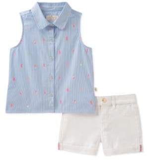 Kate Spade Little Girl's Mini Ice Pops Cotton Collared Shirt and Denim Shorts Set