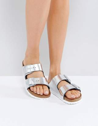 Birkenstock Arizona Metallic Silver Leather Flat Sandals $119 thestylecure.com