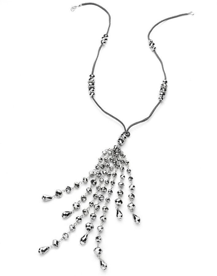 Style&Co. Necklace, Silver-Tone Suede Beaded Tassel Drop Necklace