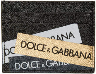 Dolce & Gabbana Black and Gold Tape Logo Card Holder