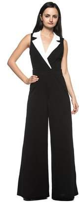 Rogue Finery Women's Plus White Tuxedo Collar Lapel V Neck Wide Leg Pant Suit Jumpsuit (1XL)