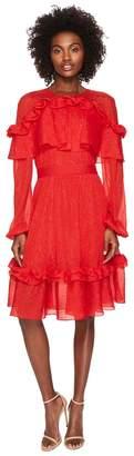 Prabal Gurung Crinkle Lurex Chiffon Long Sleeve Dress Women's Dress