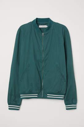 H&M Cotton Bomber Jacket - Green