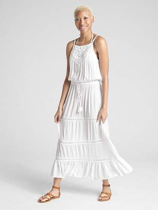 Gap Tiered Lace-Trim Maxi Dress Cover-Up